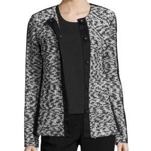 ST. JOHN Tweed Knit Grosgrain Trim Jacket K61N061